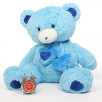 3ft Enormous Blue Shorty Hugs Teddy Bear