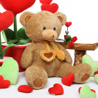 Cupid Hugs amber brown teddy bear 36in