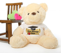 Smiley Chubs cream personalized graduation teddy bear 38in