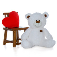 Huge 35 Inch Snow White Teddy Bear in Sitting Position