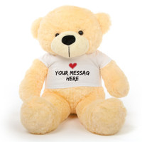 38 inch Cream Personalized Teddy Bear with Heart Stamp T-shirt