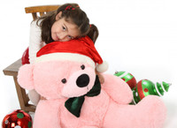38in Pink Christmas Teddy Bear with Green Bow Tie Lady Cuddles