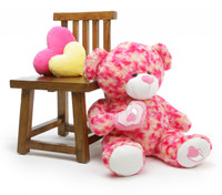 Sassy Big Love pink cream teddy bear 30in