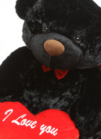 Juju Cuddles Black Teddy 48in Hug Care Package