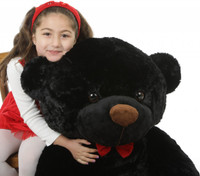 I Love You This Much Bear Hug Care Package Juju Cuddles black teddy bear 48in