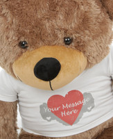 Mocha 38in Sunny Cuddles Personalized Teddy Bear with Heart Print T-shirt