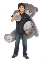 Sugar Heart Tubs silver jumbo teddy bear with blue I Love You heart 52in