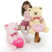He Loves Me! Bear Hug Care Package featuring LuLu Shags Pink 27in