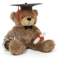 Sunny G Cuddles Mocha Graduation Teddy Bear with Cap and Diploma 26in