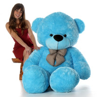 Life Size Softest and huggable Blue Teddy Bear Happy Cuddles 6ft