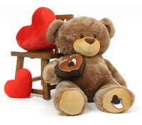 Baby Cakes Big Love Soft Mocha Brown Teddy Bear 42in