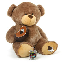 Huge 47 Inch Teddy Bear with Brown Heart