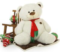 Wishing you a Giant Teddy Bear White Christmas!  52 inch Bo Fluffy Shags wears a festive scarf and brings you big Christmas Bear Joy!