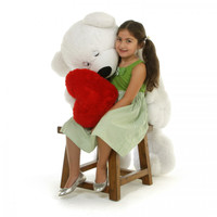4 1/2 feet, Paw Mittens Unique Teddy Bear with Heart, Giant White Teddy Bear Hug Pillow