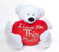 "Paw Mittens big teddy bear with ""I Love You This Much"" heart shaped pillow option."