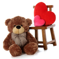 Over 3ft Huge Teddy Bear Snuggly Soft Mocha Brown Fur Sunny Cuddles gift of a lifetime