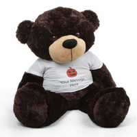 Dark Brown Huge Teddy Bear Brownie Cuddles brings Big Life to your Halloween Greeting!