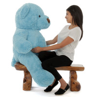 Giant 4ft tall Teddy Bear Sammy Chubs with sky blue fur