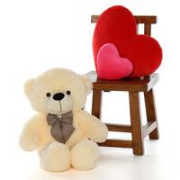 big teddy bear huge 2.5ft size huggable soft cream fur Cozy Cuddles from Giant Teddy