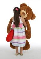 4 1/2 feet, Chester Mittens Unique Teddy Bear with Heart, Giant Caramel Teddy Bear Hug Pillow