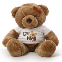 38in Get Well Soon Mocha teddy bear Buttercup, is just the prescription needed!