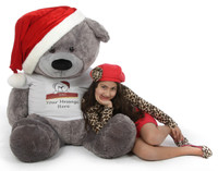 Make a big statement with our 52in Personalized Christmas Teddy Bear Diamond Shags