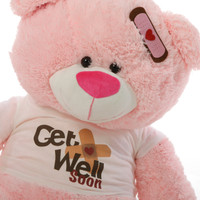 "35"" Get Well Soon Teddy Bear, Pink (Close Up)"