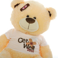 Get Well Soon Giant Teddy Bears with custom positioned bandaid and cute bear shirts 37in Shags