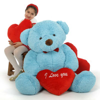 "48in Smiley Chubs Teddy Bear for Valentine's Day with big ""I Love You"" heart"