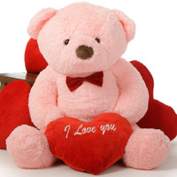 "48in Gigi Chubs Teddy Bear for Valentine's Day with big ""I Love You"" heart"