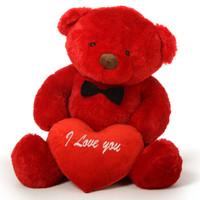 "48in Riley Chubs Teddy Bear for Valentine's Day with big ""I Love You"" heart"