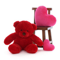 30in soft Teddy Bear Extra Plump and Adorable Bright Red