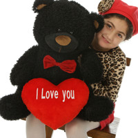 "25in Big Black Teddy Bear Ricardo Fluffy Shags with red ""I Love you"" heart and red bowtie"