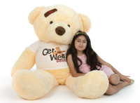 5ft Get Well Soon Vanilla teddy bear, Smiley Chubs