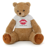 Big 2½ ft Personalized 'Prom Red Lips' Teddy Bear Amber Brown Honey Tubs