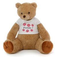 2½ ft Honey Tubs adorable amber brown Prom Teddy Bear (Prom? - Tiny Kisses)