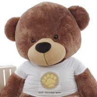 Mocha 6 Foot Giant Teddy Bear w/Paw Print T-shirt