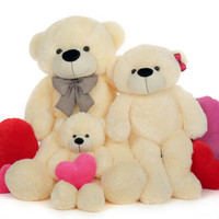 Huge Four Foot, Three Foot, Two Foot,  Bear Vanilla Family Package, Cozy Cuddles
