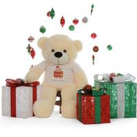 cutest softest Merry Christmas 4ft Life Size Cream Teddy Bear Cozy Cuddles