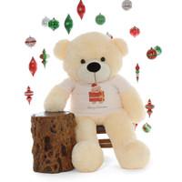 Merry Christmas 4ft Life Size Cream Teddy Bear Cozy Cuddles
