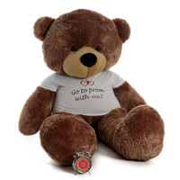 """Personalized """"Go to prom with me"""" 72in Mocha Sunny Cuddles Teddy Bear"""
