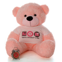 "4ft Pink Lady Cuddles teddy bear in ""Happy Mother's Day"" shirt"