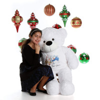 4ft White Giant Teddy Bear Happy New Year Coco Cuddles