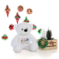 4ft White Giant Teddy Bear in Happy New Year T-Shirt