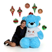 5ft Light Blue Soft and Fluffy Merry Christmas Teddy Bear