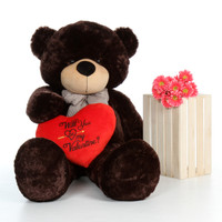 60in Giant Teddy Bear Valentine's Day Brownie Cuddles with Red Plush Heart