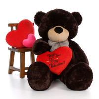 "5ft Brownie Cuddles Giant Teddy Dark Brown Bear with ""Will You Be My Valentine?"" pillow"