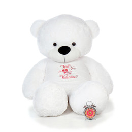 "6ft Enormous Life Size White Valentine's Day Teddy Bear Coco Cuddles wearing a ""Will You Be My Valentine?"" Shirt"