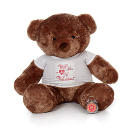 "5ft Life Size Mocha Brown Valentine's Day Teddy Bear Big Chubs wearing a ""Will You Be My Valentine?"" Shirt"