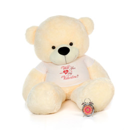 "6ft Life Size Vanilla Cream Valentine's Day Teddy Bear Cozy Cuddles wearing a ""Will You Be My Valentine?"" Shirt"